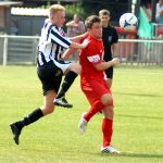 Jake Robinson in pre-season action against Peacehaven & Telscombe FC